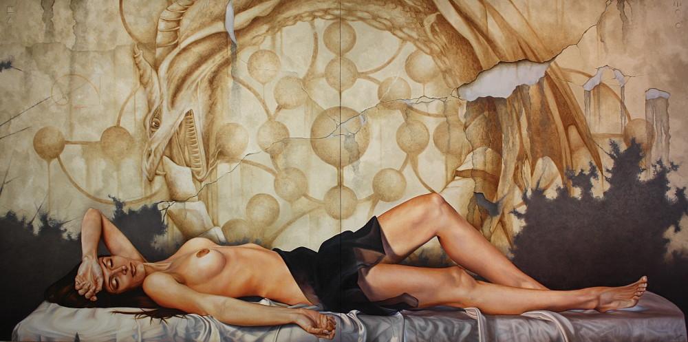 Uroboros, 200 x 400 cm, oleo s/tela
